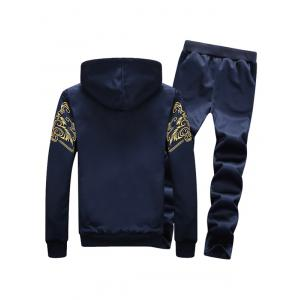 Zip Up Flocking Hoodie and Drawstring Pants Twinset - DEEP BLUE 4XL