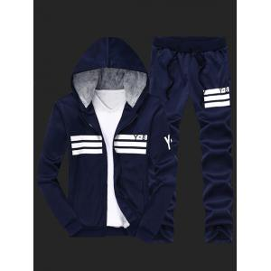 Zip Up Flocking Cool Zip Up Hoodies for Men and Striped Pants Twinset - Cadetblue - 4xl