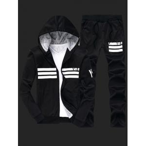 Flocking Cool Zip Up Hoodies for Men and Striped Pants Twinset