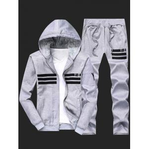 Flocking Cool Zip Up Hoodies for Men and Striped Pants Twinset - Gray - L