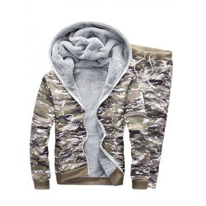 Camo Flocking Hoodie and Drawstring Pants Twinset - Sage Green - M
