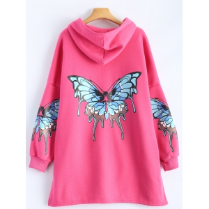 Butterfly Print Pocket Design Zip Up Hooded Coat - ROSE MADDER 2XL