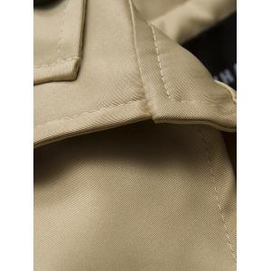 Turndown Collar Single Breasted Epaulet Design Coat - KHAKI 2XL