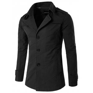 Splicing Design Single Breasted Coat - Black - L