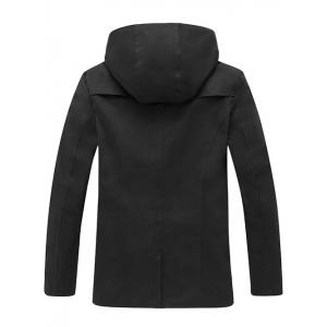 Hooded Double Breasted Back Slit Wind Coat -