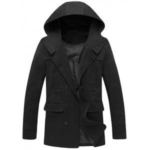 Hooded Double Breasted Back Slit Wind Coat