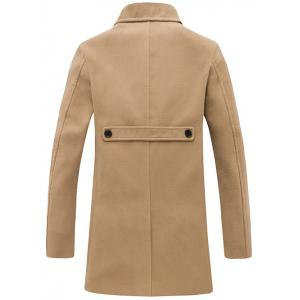 Turndown Collar Single Breasted Wool Coat - KHAKI XL