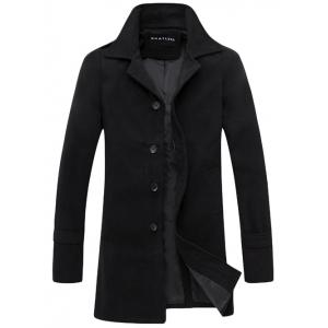 Turndown Collar Single Breasted Wool Coat - Black - L