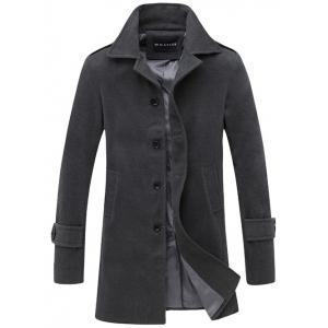 Turndown Collar Single Breasted Wool Coat