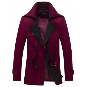 Double Breasted Belt Embellished Trench Coat - Wine Red - L