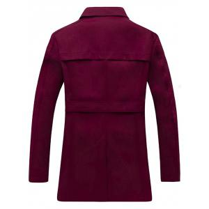 Double Breasted Belt Embellished Trench Coat - WINE RED L