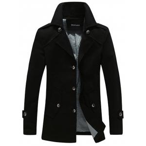 Single Breasted Epaulet Embellished Wind Coat