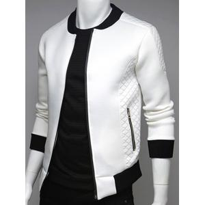 Argyle Splicing Stand Collar Zip Up Jacket - White - 2xl