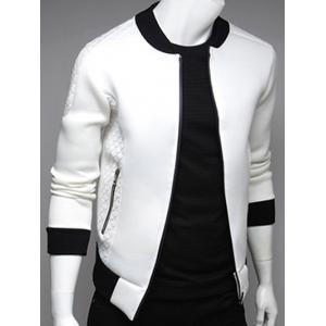 Argyle Splicing Stand Collar Zip Up Jacket - WHITE 2XL