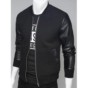 PU Leather Splicing Stand Collar Zip Up Jacket - Black - L