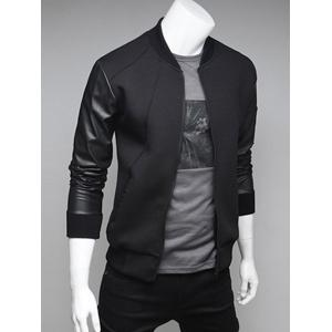 PU Leather Spliced Stand Collar Zip Up Jacket -