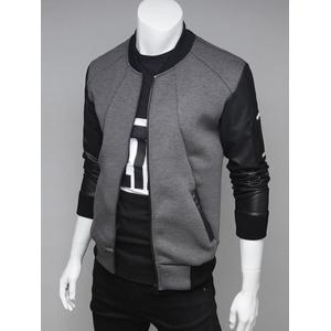 PU Leather Spliced Stand Collar Zip Up Jacket
