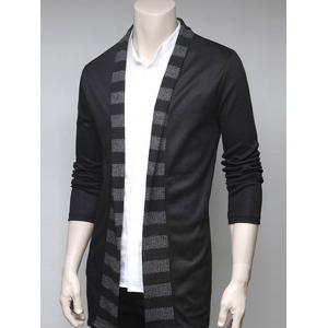 Stripe Design Turndown Collar Cardigan -