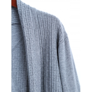 Solid Color Long Open Front Cable Knit Cardigan -