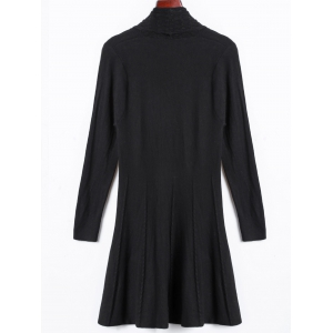 Solid Color Long Open Front Fitted Cardigan -