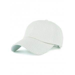 Breathable PU Leather Small Holes Design Baseball Hat - White