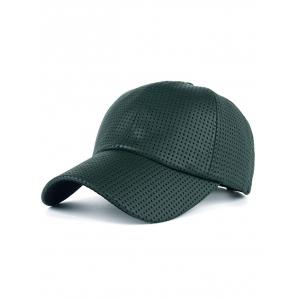 Breathable PU Leather Small Holes Design Baseball Hat - Blackish Green - S
