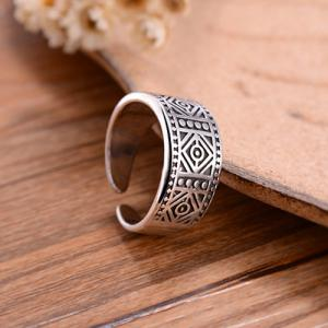 Vintage Carved Geometric Cuff Ring - SILVER ONE-SIZE