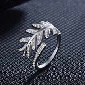 Rhinestoned Leaves Cuff Ring - SILVER ONE-SIZE