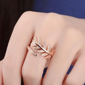 Rhinestoned Leaves Cuff Ring - Rose Gold - One-size