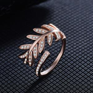 Rhinestoned Leaves Cuff Ring - ROSE GOLD ONE-SIZE