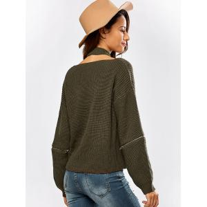 Chunky Zipper Design Sweater with Knitted Choker - OLIVE GREEN ONE SIZE