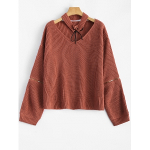 Chunky Zipper Design Sweater with Knitted Choker - Brick-red - One Size