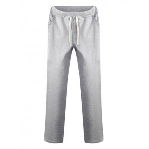 Drawstring Straight Leg Plain Pants