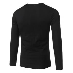 Slim Fit Long Sleeve Line Pattern Tee - BLACK 5XL