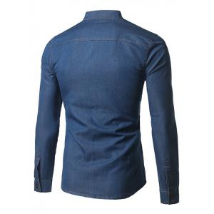 Long Sleeve Pocket Denim Fitted Shirt - DEEP BLUE 5XL