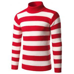 Slim Fit Roll Neck Striped Sweater - Red - M