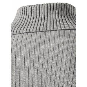 Slim Fit Roll Neck Ribbed Knitted Sweater - BLACK 3XL