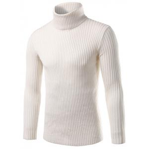 Slim Fit Roll Neck Ribbed Knitted Sweater - White - Xl