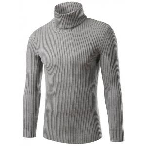 Slim Fit Roll Neck Ribbed Knitted Sweater - Gray - M