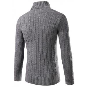 Slim Fit Turtleneck Cable Knit Sweater -