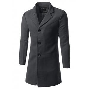 Slim Fit Single Breasted Lapel Wool Mix Coat