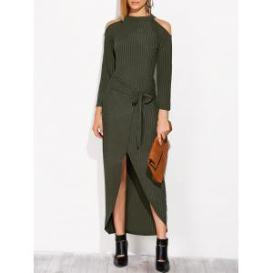 Cold Shoulder Asymmetric Knitted Maxi Jumper Dress - Blackish Green - S