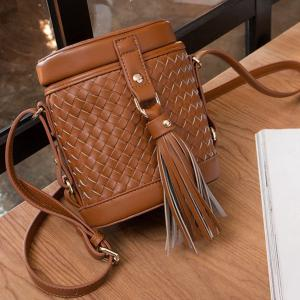 Tassels Weave Cylinder Shape Crossbody Bag -