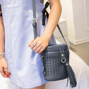 Tassels Weave Cylinder Shape Crossbody Bag - Gray