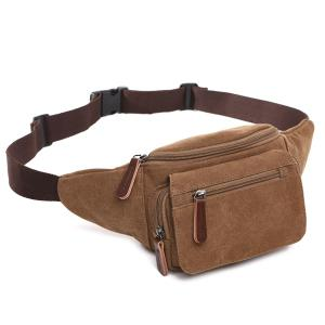 Canvas Colour Spliced Zippers Waist Bag - LIGHT COFFEE