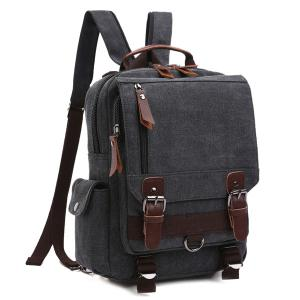 Double Buckle Pocket Zippers Backpack - Black