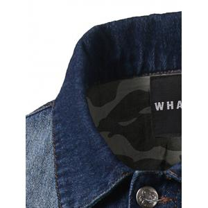 Bleach Wash Double Pockets Camouflage Spliced Denim Jacket -