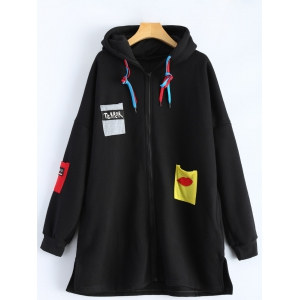 Patchwork Plus Size Hooded Zip Up String Coat - Black - 4xl