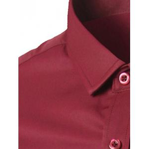 Plus Size Pocket Business Shirt - BURGUNDY 5XL