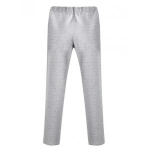 Lace Up Appliques Straight Leg Pants - GRAY 2XL